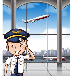 Airline captain at airport vector