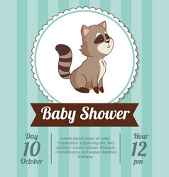 Baby shower card invitation - raccoon decorative vector