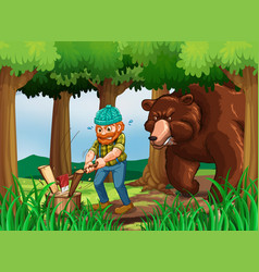 bear and lumberjack chopping wood in the forest vector image vector image