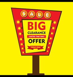 big clearance offer limited time sale hoarding st vector image