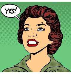 Black woman says yes pop art comics retro style vector