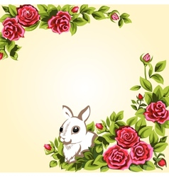 Bunny and roses vector image vector image