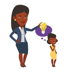 Businesswoman giving idea bulb to her partner vector
