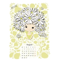 Calendar 2016 august month season girls design vector
