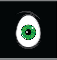 cartoon funny green eyes for comics design art vector image