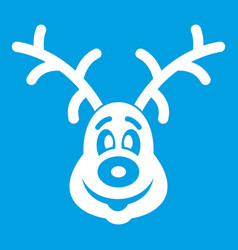 christmas deer icon white vector image