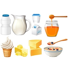 Dairy products set with milk and honey vector image