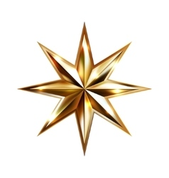 Hand drawing gold star with eight rays elegant vector