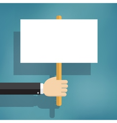 Hand holding blank protest boards vector image vector image