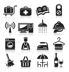 Hotel black icons set vector image vector image