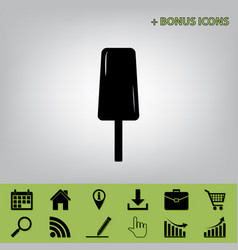 Ice cream sign black icon at gray vector