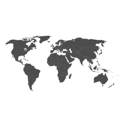 map of world in grey with white borders vector image