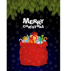 Merry Christmas Bag full of gifts Christmas night vector image vector image