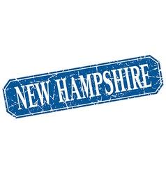 New hampshire blue square grunge retro style sign vector