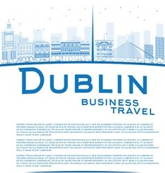 Outline dublin skyline with blue buildings vector
