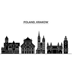 Poland krakow architecture city skyline vector