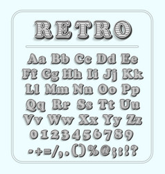 Retro font on light blue background the alphabet vector