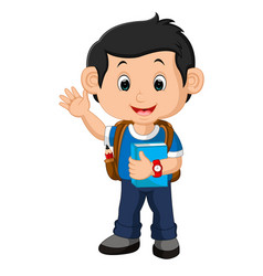 school boy cartoon walking vector image