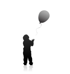 Silhouette of a boy with balloon vector image vector image