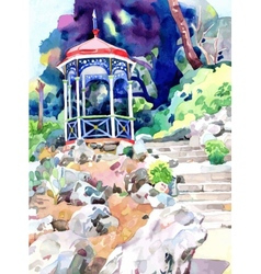 Watercolor painting on paper of arbour in nikita vector