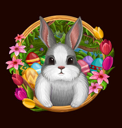 white bunny in frame with flowers isolated on dark vector image
