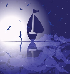 Yacht in the open sea at night vector
