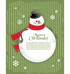 Christmas postcard with snowman vector