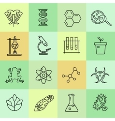 Set of modern linear icons with biology elements vector