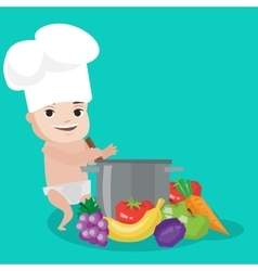 Baby in chef hat cooking healthy meal vector