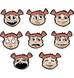 cartoon emotional faces female vector image