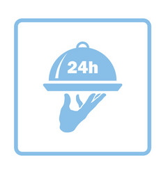 24 hour room service icon vector image