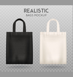 Black white tote bags transparent background vector