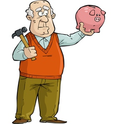 Old man with piggy bank vector