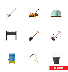 Flat icon farm set of grass-cutter hothouse lawn vector