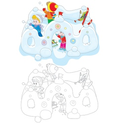 Children in a snow fort vector