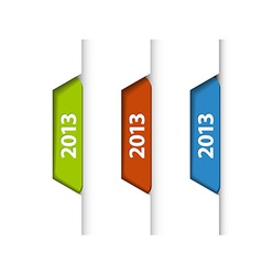 2013 labels stickers on the edge of the web page vector