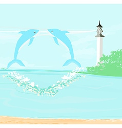 Lighthouse seen from a tiny beach and dolphins vector