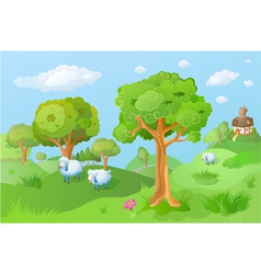 Lamb in the cartoon landscape vector