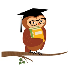 Academic owl holding a book sitting on a branch vector