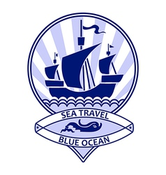 Blue ocean travel vector