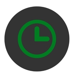 Clock flat green and gray colors round button vector