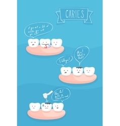 Teeth comics about the cause of tooth decay vector