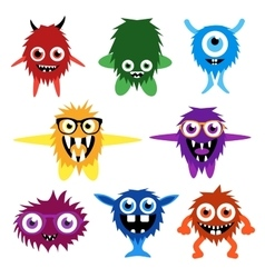 Set of cartoon cute monsters and aliens vector