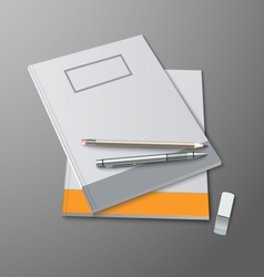 School notebooks with pencils and eraser template vector