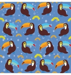 Cute cartoon toucan birds set on blue background vector