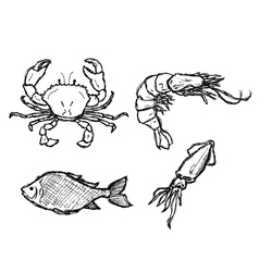 Scribble series - seafood vector
