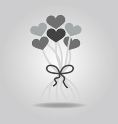 Abstract cute bunch of heart balloons decoration vector
