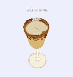 Apple pie cocktail hand drawn sketch line art vector