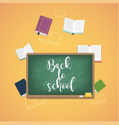 Back to school with books and formulas on the vector