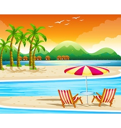 Beach scene with chairs and umbrella vector image
